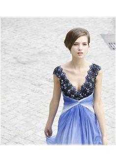 In Stock Deep V-neck  Beaded Gradient Color Prom Dress 80320