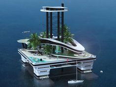 Kokomo Ailand is a private floating habitat supported by semi-submersible platforms.