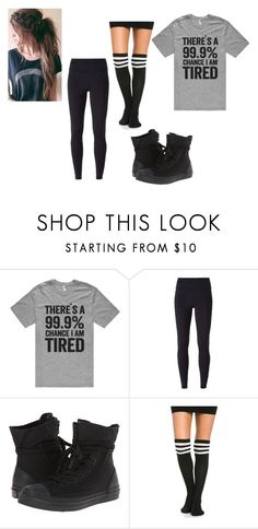 """Yes I wear my knee high socks over my leggings, no I'm 'not tired'"" by xfrenchbraidx on Polyvore featuring NIKE and Converse"