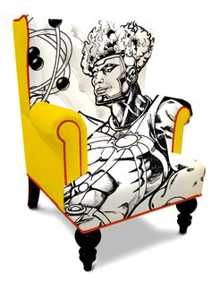 Custom, one of a kind, superhero wingback chair. Superhero or other character of your choice, original art by Larry DiMaio. Chairs are custom made and require an 8 - 10 week lead time. Order now and own one of these incredible, functional pieces of art. Chair style may change slightly based on availability.