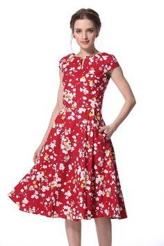 Red Blossom V Neck Vintage Dress