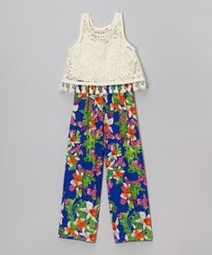 Look what I found on #zulily! Royal Blue Floral Crochet Jumpsuit - Girls by Just Kids #zulilyfinds
