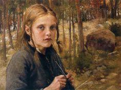 """""""A Girl Knitting Socks"""" by Albert Edelfelt"""