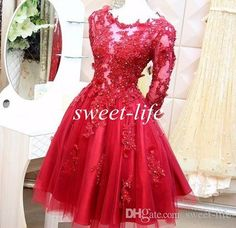 Vintage 1950'S Style Red Lace Ball Gown Short Evening Dresses Long Sleeves Sheer Sexy Prom Dresses 2015 Women Formal Gowns With Appliques Evening Dresses Size 20 Evening Dresses Uk Sale From Blissbridal, $125.63| Dhgate.Com