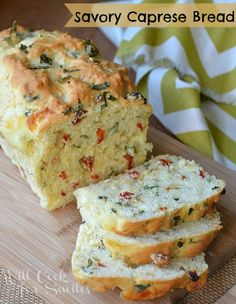 Savory Caprese Bread - have I just died? Is this heaven? My favorites in...bread?! Done. This girl. Done.