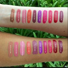 Too Faced Melted Lipsticks.  Wow.  Can we just see all swatches with different skin tones like this?  Love it.
