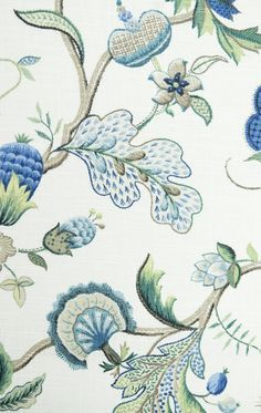 Langrish Linen Fabric A printed 18th Century embroidery style design fabric in blues, aquas, and green, on an off white background.
