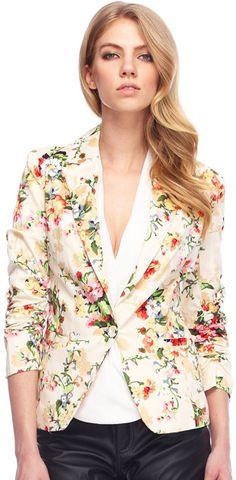 Lapel Floral Print Blazer