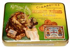 a very old Egyptian Kyriazi Cigarettes from showing a dazzling picture of a beautifull Lady with a almost hyptonised Lion, really outstanding Litho design. in my Collection