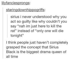 I think people just haven't completely grasped the concept that Sirius Black is the biggest drama queen of all time