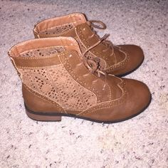 Brown ankle Boots Never worn double ticket sizing: 6/7 Shoes Ankle Boots & Booties