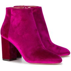 Aquazzura Pink Velvet Brooklyn 85 Boots (2.045 RON) ❤ liked on Polyvore featuring shoes, boots, aquazzura boots, pink velvet shoes, pink shoes, pink velvet boots and pink boots