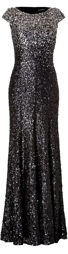 Black Silver Sequined Gown