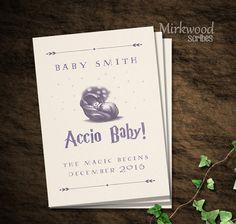 Accio bébé!  Annonce de la grossesse de Harry Potter |  Faire-part de naissance | Première Invitation fête d'anniversaire