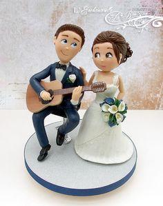 Marine and White Guitar Player Wedding cake topper - by L& Music Wedding Cakes, Guitar Wedding, Custom Wedding Cake Toppers, Wedding Topper, Team Bride, Fondant People, Grooms Table, Guitar Cake, 10th Wedding Anniversary