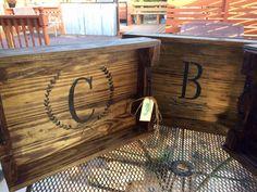 Reclaimed wood monogram serving tray
