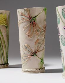 Daffodil, Honesuckle and Bluebell and Egg vases by Sue Dunne