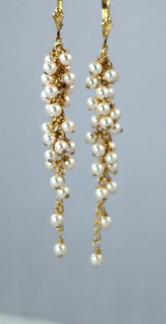 Earrings Bridal Wedding Dainty  Pearl by ChantillyJewellery