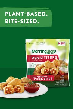 With blockbuster flavor in every bite, new MorningStar Farms® Pizza Bites are the perfect snack for your next movie night. Made with 100% plant-protein, our Pepperoni and Sausage Pizza Bites are sure to please every film—and food—fan in your family. Vegetarian Kids, Vegetarian Appetizers, Vegan Snacks, Easy Snacks, Vegetarian Recipes, Healthy Recipes, Water Recipes, Veggie Recipes, Snack Recipes