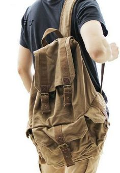 Classic Canvas Rucksack Backpack #Canvasbackpack #Travelbag