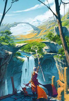 Concept Art Landscape, Fantasy Art Landscapes, Fantasy Landscape, Fantasy Artwork, Landscape Art, Illustration Pop Art, Landscape Illustration, Arte 8 Bits, Fantasy Places