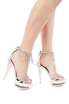 Silver Rhinestone Strappy 6 Inch High Heels Faux Leather Pageant Shoes, Prom Shoes, Wedding Shoes, Wedding Dresses, Ankle Heels, High Heel Pumps, Pumps Heels, Stiletto Heels, Cute Shoes
