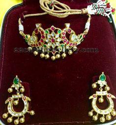 Jewellery Designs: 2 in 1 Kundan Choker Cum Chandbalis Jewelry Design Earrings, Gems Jewelry, Gemstone Earrings, Bling Jewelry, Metal Jewelry, Wedding Jewelry, Jewelery, Antic Jewellery, India Jewelry