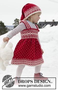 Miss Cookie / DROPS Children - Knitted dress for babies and children in DROPS Baby Merino. The piece is worked top down with Nordic pattern. Baby Knitting Patterns, Knitting For Kids, Baby Patterns, Free Knitting, Dress Patterns, Knitting Ideas, Drops Design, Drops Baby, Knit Baby Dress
