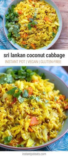 Instant Pot Cabbage With Coconut & Spices (Sri Lankan Style) - Sri Lankan Coconut Cabbage – Instant Pot Pressure Cooker Recipe - Indian Food Recipes, Whole Food Recipes, Cooking Recipes, Ethnic Recipes, Vegetarian Dinners, Vegetarian Recipes, Healthy Recipes, Vegan Cabbage Recipes, Cabbage Recipes Indian