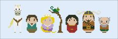 This is a parody, an inspirational cross stitch pattern of the cartoon Tangled, featuring Maximus, Flynn Rider, Rapunzel, Pascal, Mother Godel, Vladimir and Shorty