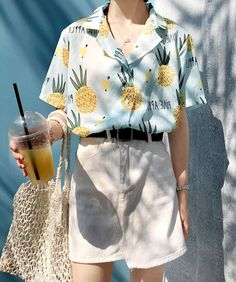 PINEAPPLE PRINT BLOUSE SHIRT sold by Littlepinko. Aesthetic Fashion, Aesthetic Clothes, Look Fashion, Korean Fashion, Girl Fashion, Fashion Outfits, Vintage Outfits, Retro Outfits, Casual Outfits