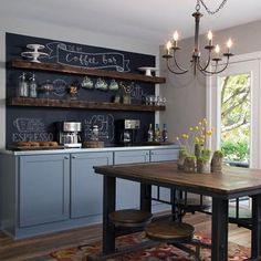 """""""Fixer Upper hosts Chip and Joanna Gaines transformed this casual dining space off the kitchen into a coffee bar and a spot for family and friends to…"""""""