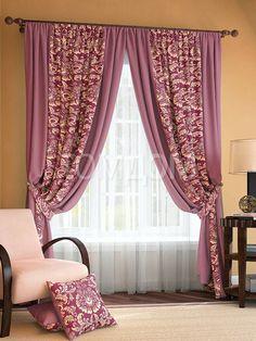 """Комплект штор """"Иналда (брусничный)"""": купить комплект штор в интернет-магазине ТОМДОМ #томдом #curtains #шторы #interior #дизайнинтерьера"""