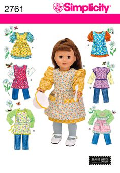 sewing projects by daisy kingdom | 18 inch Doll Clothes and Apron Sewing Pattern 2761 Simplicity
