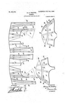 A very interesting corset from 1908 with two extra sets of laces. While this would be an uncommon and probably unusual model for the time, the shape it creates appears about right! Corset Sewing Pattern, Pattern Drafting, Vintage Sewing Patterns, Clothing Patterns, Corset Tutorial, Elizabethan Dress, Pattern Cutting, Pattern Making, Costume Patterns