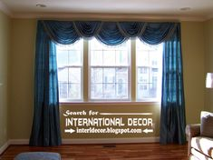 Luxury living room drapery styles, drapery designs and ideas, blue draperies, it's stylish drapery design for luxury classic living room interior design Bed In Living Room, Living Room Pillows, Classic Living Room, Living Room Modern, Interior Design Living Room, Living Room Designs, Curtains Living, Country Curtains, Modern Curtains