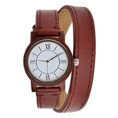 ZLYC Women Watches Red Genuine Leather Strap Dress Watch Roman Numerals Sandal Wood Double Wrap Watch *** Learn more by visiting the image link.