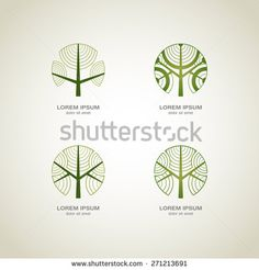 Green Tree logo. Green Circle Tree vector logo design.  creative concept. Ecology Design Background. Vector Illustration. - stock vector