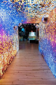 Tunnel Entrance A colorful, disco-theme entrance immediately set the tone for the fun, photo-friendly day. Studio 54 Party, Mode Disco, Design Commercial, Nightclub Design, 70s Party, Partys, Disco Ball, Experiential, Event Decor
