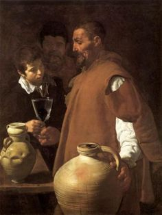 Exam 2: Diego Velazquez, Water Carrier of Seville. High realism--the man is a recognizable person who carried water. Velazquez was fascinated with objects and does a masterful job with the light, especially with the glass. Water carrier radiates wisdom.