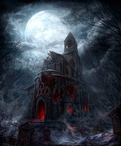 Dark castle under a full moon. Cool for Halloween inspiration!                                                                                                                                                                                 More