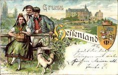 Künstler Wappen Litho Schultz, W., Hessen in Landestrachten, Hund #Marburg #evangelisch