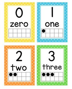 Number Posters with Ten Frames and Flash Cards (Polka Dots) Teaching Numbers, Numbers Kindergarten, Numbers Preschool, Homeschool Kindergarten, Free Printable Numbers, Printable Cards, Polka Dot Numbers, Number Flashcards, Math Flash Cards