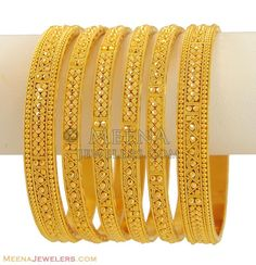 Indian Bangles (Set of - - Gold Bangles (set of with handcrafted filigree designs and diamond cuts. Bangles are flat Bracelets Design, Gold Bangles Design, Gold Earrings Designs, Gold Jewellery Design, Gold Jewelry, India Jewelry, Fine Jewelry, Resin Jewellery, Fashion Jewellery