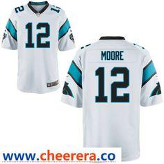 4127ddac2 Men's Carolina Panthers #12 D. J. Moore White Road Stitched NFL Nike Game  Jersey