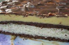 Aceasta prajitura combina trei straturi: Vanilie, ciocolata si cocos.