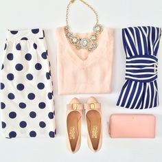 Polka dot skirt, striped bow clutch,  blush sweater, bow pumps, statement necklace, pink wallet - StylishPetite.com