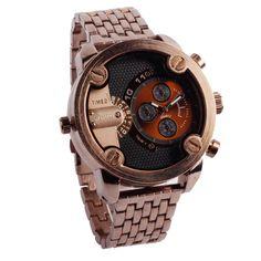 Mens Luxury Stainless Steel Retro-Style Timepiece