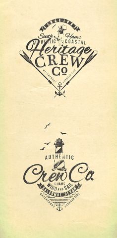 Heritage Crew - Summer Logos - Apparel Graphics by Richard Schonegevel, via Behance Vintage Typography, Typography Letters, Typography Logo, Logos, Label Design, Logo Design, Graphic Design, Summer Logo, Navy And Copper