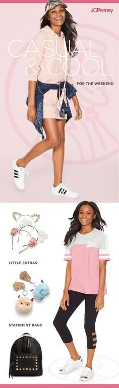Laid-back looks are made for the weekend. Add Adidas sneakers to a sweatershirt dress to amp up the athletic vibe. Or treat a sporty style with fun accessories, like cute headbands and statement handbags and backpacks.